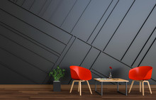 3D Rendering Of Neutral Interior With Red Chair On Empty Wall Background.