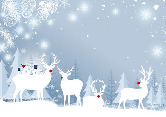 Panel Szklany Boże Narodzenie/Nowy Rok Christmas background design of reindeer and pine leaves with snowflake in the forest winter vector illustration