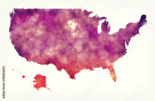 USA watercolor map in front of a white background Wallpaper Mural