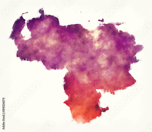 Fotografia, Obraz Venezuela watercolor map in front of a white background