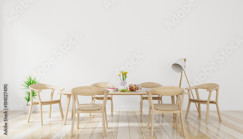 Pinturas sobre lienzo  Bright spacious dining room with wooden big table and lamp with white wall backg