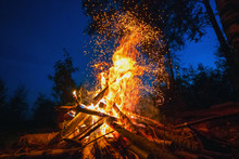 Bright Fire On A Dark Night In...