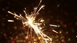 Sparkling New Year's fire on the background of the bokeh