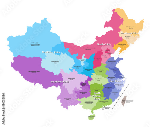 Fotografie, Obraz vector map of China provinces colored by regions