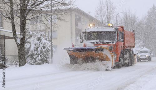 Printed kitchen splashbacks Storm snow, winter, traffic, truck, tractor,