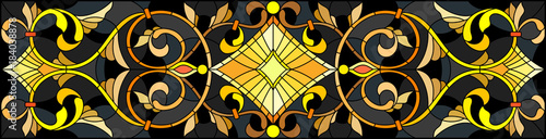 Fotografía Illustration in stained glass style with floral ornament ,imitation gold on dark