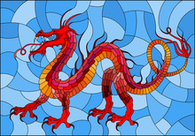 Illustration In Stained Glass Style With Red Abstract Dragon In The Sky