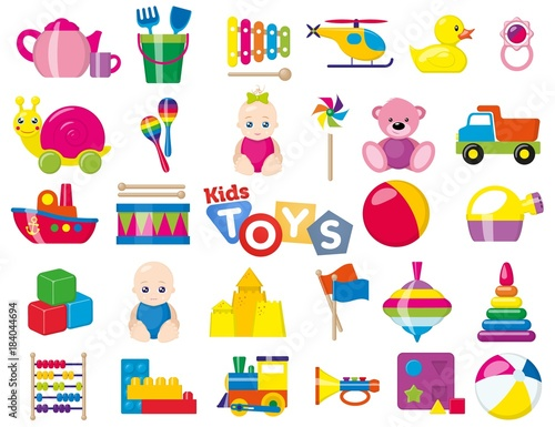 Obraz Kids toys. A set of children's toys for the youngest. Vector illustration. - fototapety do salonu