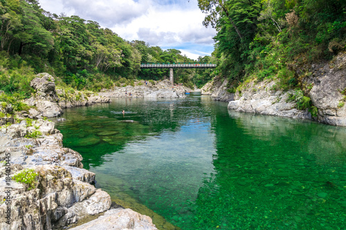 Photo  Beautiful green and clear pelorus river, known from the movie hobit