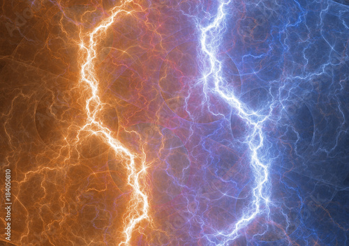 Photo  Fite and ice lightning bolt, abstract plasma and power background