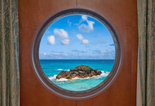 Ocean And Rock Through Porthole