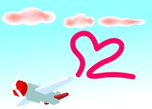 Lovely Airplane Paint Text Love In The Sky With Bubble Cloud Shape In Pale Color