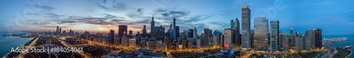 Foto op Plexiglas Chicago Drone View on Chicago at Night