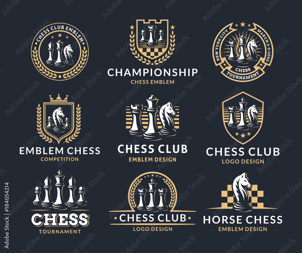 Fototapeta Chess logo set - vector illustration, emblem design on a dark background