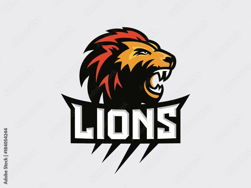 Fototapeta Lions head - sport logo, emblem on a light background