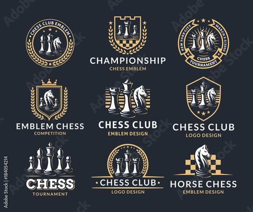 Chess logo set - vector illustration, emblem design on a dark background Wallpaper Mural