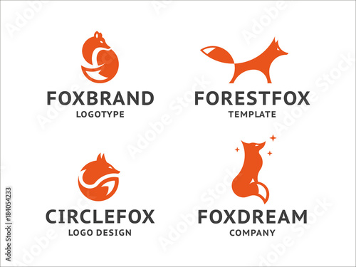 Collection of orange fox logos, emblem, illustration in a minimalist style Canvas Print