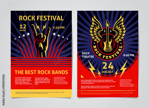 Photo Rock, metal, punk music festival poster, flyer - template vector design