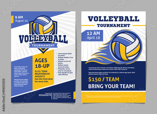 Slika na platnu Volleyball tournament posters, flyer with volleyball ball - template vector desi