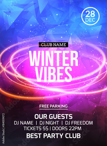 2018 new year winter dance party celebration flyer design template holiday invitation party poster card