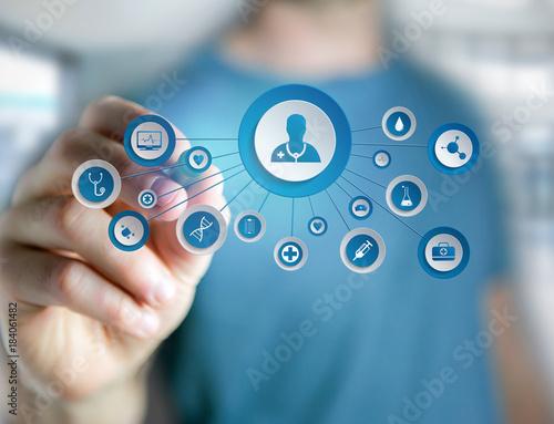 Fototapeta View of Medecine and general healthcare icon displayed on a technology interface obraz na płótnie