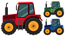 Tractors In Three Different Co...