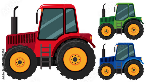 Tractors in three different colors Wallpaper Mural