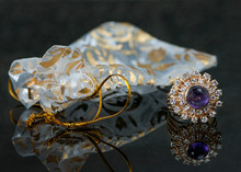 Gold Vintage Formal Evening Ring With Purple Sapphire Stone And Diamond Bursts