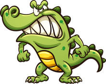 Angry Cartoon Crocodile. Vector Clip Art Illustration With Simple Gradients. All In A Single Layer.