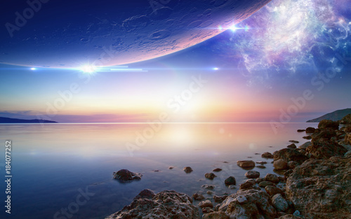 Wallpaper for ambient and chillout music, glowing sunset, serene sea, planet and Canvas Print