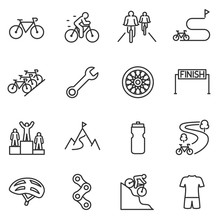 Bicycle Riding Icon Set. Cycli...