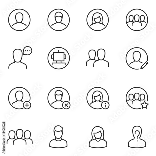 Avatars for user interface icons set  Collection silhouettes