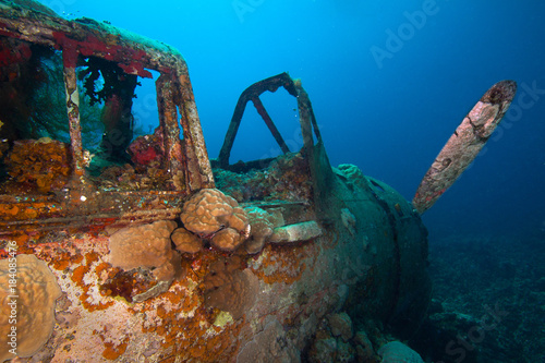 Photo  Japanese Jake sea plane, shot down during World War II, sits on a coral reef