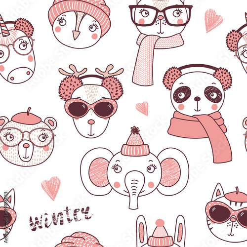 9d470f1a634 Hand drawn seamless vector pattern with cute animal faces in warm hats
