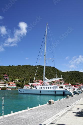 Obraz na plátně  Sailboat in Gustavia Harbor - Saint Barthelemy FWI