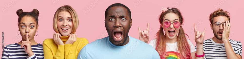 Fototapety, obrazy: Five different mixed race people stand in row, express various emotions, isolated over pink background. Multiethnic women and men stand next to each other. Composition of people. Horizontal shot
