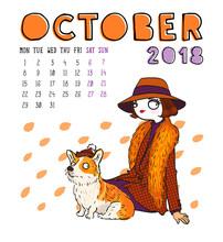 Calendar 2018, October Month. ...