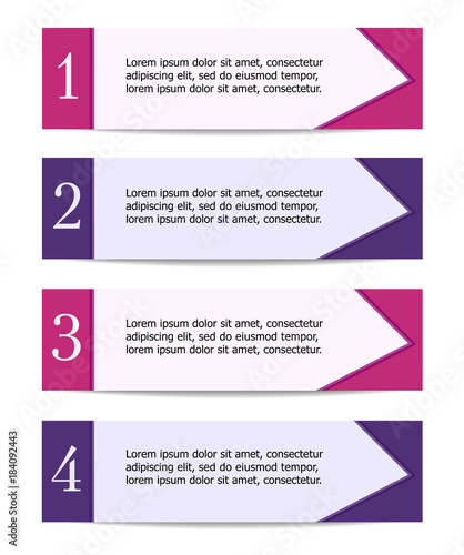 Four sticker labels with text space  Pink and violet