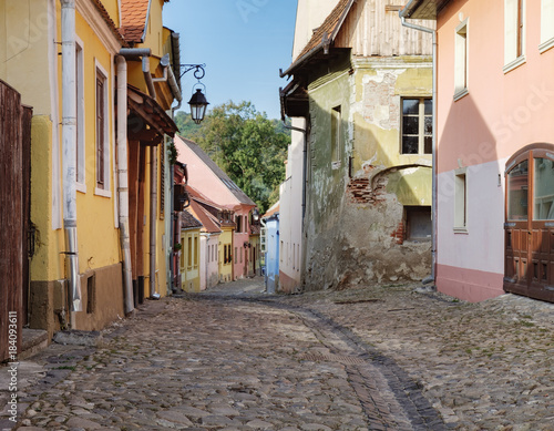 Fotografie, Obraz  Cobbled street with medieval houses in the historic center of Sighisoara, Romani