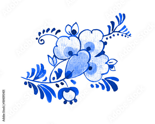 Delft blue style watercolour illustration Fototapeta