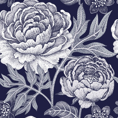 Panel Szklany Peonie Seamless pattern with flowers peonies.