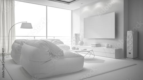 Foto op Plexiglas Wand white interior design 3D rendering