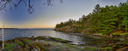 Poster Cote Scenic panoramic view of the ocean and Jack Point and Biggs Park in Nanaimo, British Columbia.