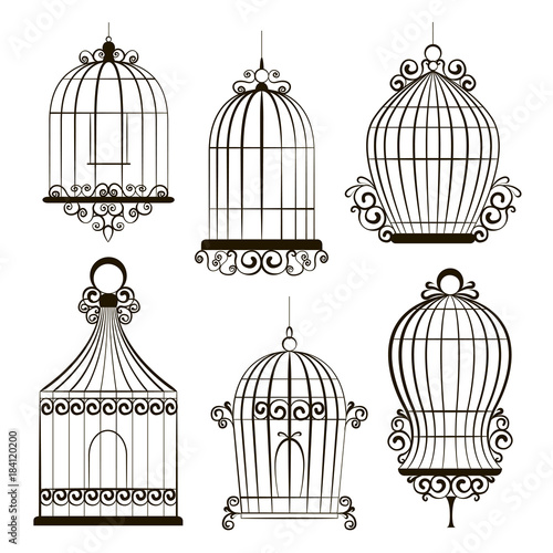Photo  Vintage bird cages