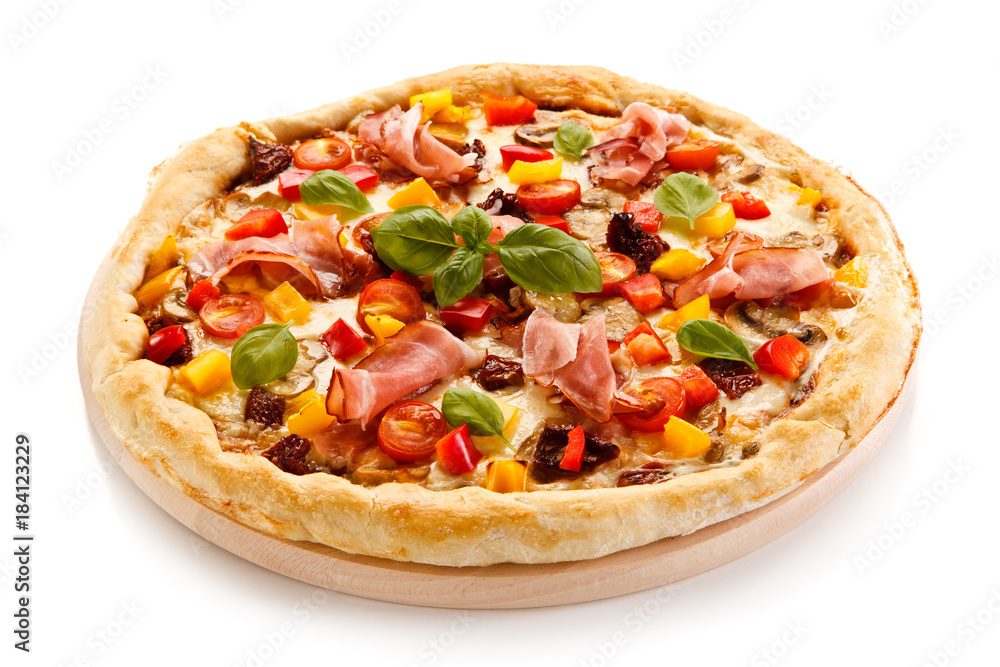 Pizza with ham and pepper on white background