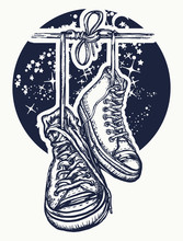 Boots Hanging From Electrical Wire Tattoo And T-shirt Design. Symbol Of Freedom, Street Culture, Graffiti, Street Art. Sneakers On Wires In Space