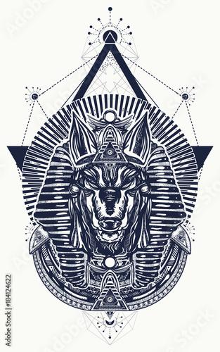 Anubis sacred geometry tattoo and t-shirt design  Anubis, god of war