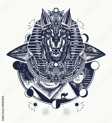Anubis tattoo and t-shirt design Canvas Print