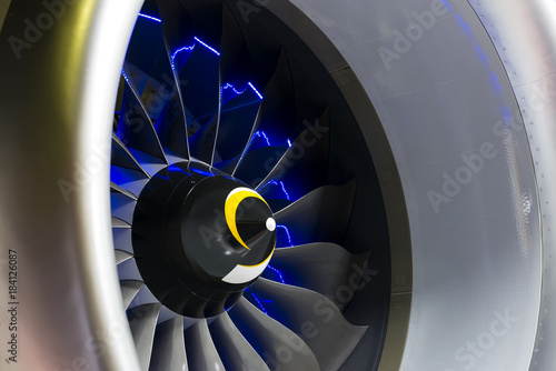 Turbine Blades. Blue light