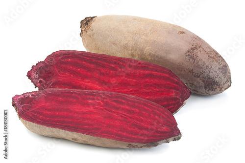 Fényképezés  Long beet root vegetable on white